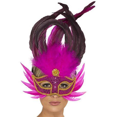 Máscara Penas - Fuschia