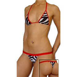 Sexy bikini Brasileiro - Padrão zebra e encarnado
