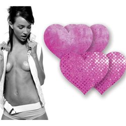 Adesivos Mamilos - Corações Rosa